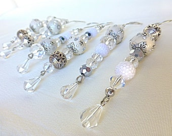 Set of 6 White and silver ornaments, glass ornaments, christmas tree ornaments, victorian ornaments, icicle ornaments, long ornaments, set