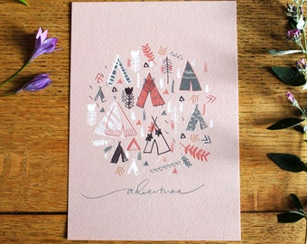 Tipi Art Print, Adventure, A5, Unframed
