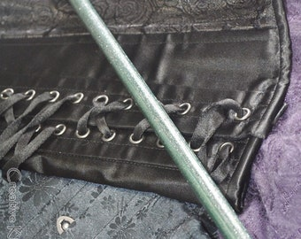 Short, Wicked, Silver and Green Cane - Sexy BDSM Caning and Spanking Toy!