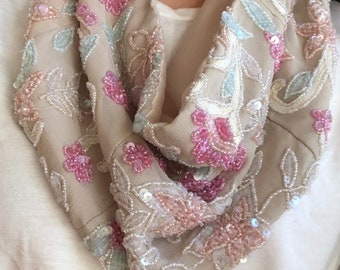 Hand sewn, pastel hand beaded silk scarf necklace