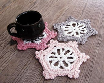 Rustic coasters mug rug coaster set floral kitchen decor wedding decor Mother's day gift
