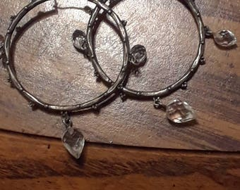 Vintage antique silver Crystal dangle hoop earrings