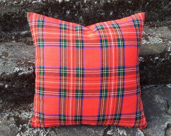Tartan Pillows, Red Plaid Pillow, Cabin Pillows, Red Pillow Covers, Plaid Cushion, Stewart Plaid, Throw, Cushion Cover, Lodge Pillow, 18x18