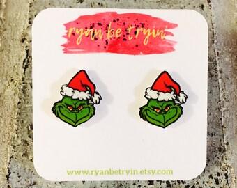 Christmas Earrings - Grinch Earrings - Christmas Grinch - Christmas Accessories - Xmas Earrings - Christmas Jewelry - Christmas Joy