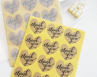 24 Heart Shaped Kraft Stickers -  Thank You