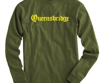 LS Queensbridge Tee - Gothic NYC Long Sleeve T-shirt - Men and Kids - S M L XL 2x 3x 4x - Queens Shirt, New York City - 4 Colors