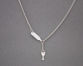 Custom Wine Bottle Necklace, Wine Necklace, Wine Bottle, Wine Jewelry, Wine Pouring Necklace, Wine Lover Gift, Custom Jewelry