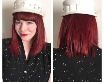 30% Off Sale 50s Cream Felted Pillbox Hat with Pearls, Silver Stars and Veil