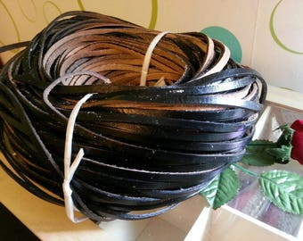 50 cm leather cord in black calfskin, width 5mm 3.0 mm thick