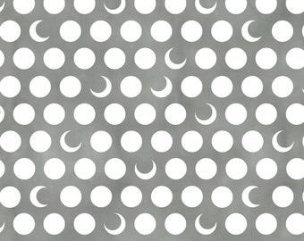 Moons, 1 Yard, Quilt Fabric, Timeless Treasures, Moons on Gray, Half Moon, Full Moon, Quarter Moon, Good for Children Too, Luna, Lunar Sky,