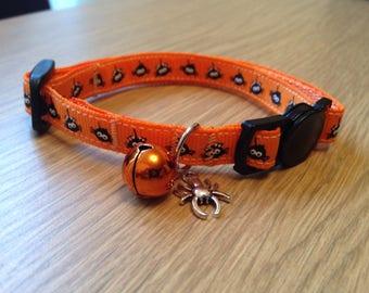 Halloween Orange Itsy Bitsy Spider Cute Cat/Kitten Safety Collar (Quick Release)