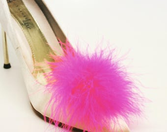 Detachable Hot PinkFeather Puff Pom Pom Shoe Clips  Set of Two