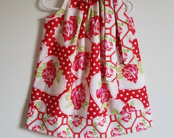 Dress with Roses Pillowcase Dress Red Roses Dress Girls Dress with Hearts Valentines Day Dress Floral Dress Pretty Dresses Baby Girl Dress