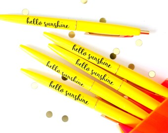 Hello Sunshine Pen Set, Black Ink Pen, Desk Accessories, Planner Pen, Teacher Gifts, Stationery, Stocking Stuffer, Cute Pen, TED073-PEN