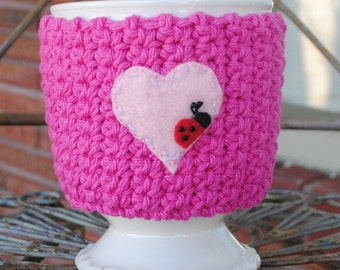 Cup Cozy BUG On A MUG Cozy Ladybug in Love, valentines, coffee sleeve, cosy, pink, heart, ladybug, ladybird, crochet cozy