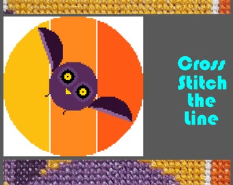 Modern cross stitch pattern of an owl. Minimalist design. Contemporary embroidery chart inspired by Charley Harper in very bright colours.