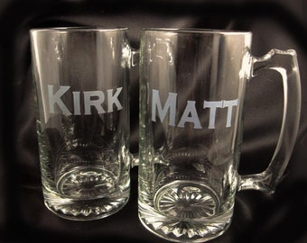 Custom Etched Personalized Beer Mugs - Personalized Gift - Custom Glassware - Wedding Party Gifts - Gifts for Groomsmen - Fraternity Gift