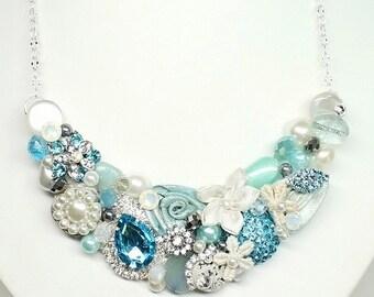 Aqua Bib Necklace- Aqua Blue Necklace- Blue Statement necklace-Aqua Blue Bib-Aqua Blue Bridal Bib- Seaglass Bridal Necklace- Aqua Bib