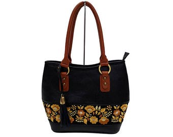 Leather FLORAL Bag
