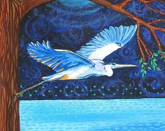 Blue Heron Moon First Nation Nature print blue water night Shelagh Duffett