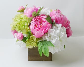 Peony Arrangement, Silk Peonies, Flower Arrangement, Silk Flower Arrangement, Peony Decor, Flowers, Silk Flowers, Pink Peony Arrangement