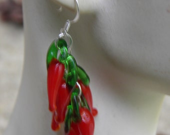 Red Hot Chili Pepper Earrings, Sterling Silver and Lampwork Glass Peppers, Day of the Dead Jewelry Halloween Jewelry Halloween Earrings OOAK
