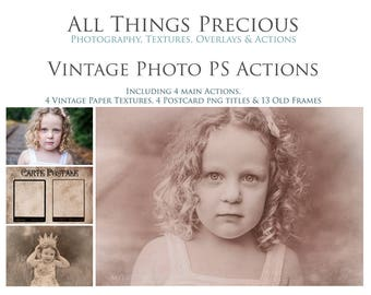 7 Vintage Actions, 24 Vintage frames, papers, stamps and Overlays. Fine Art Digital Vintage Reproduction Photo Photoshop Actions SET 1