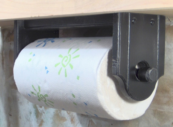 Paper Towel Holder Wall Or Under Cabinet Wood Black