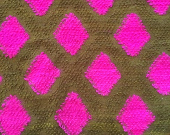 Stunningly Bright Colorful Vintage Mid Century Wool Rug Green and Pink 5' x 7'