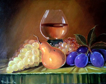 Still life plums and grapes