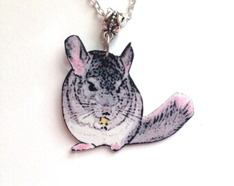 Handcrafted Plastic Chinchilla Necklace Pendant on Chain Gifts for Her