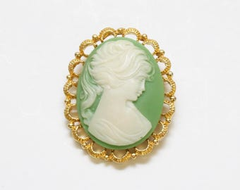 Green Cameo Brooch - Vintage 1950s Light Green Brooch Pin