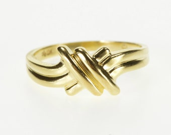 10K Grooved Criss Cross Bypass Freeform Design Ring Size 6 Yellow Gold