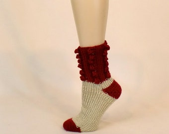 Thick Knit Bed Socks, Red Cream Sleep Socks, Soft Ribbed Socks, Foot Warmer Slipper Socks, Cinnamon Beige House Sock Leg Warmers