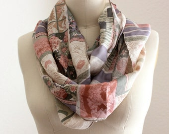 upcycled silk scarf in geometric floral print, extra long infinity