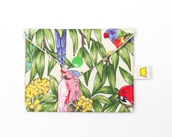 Mini snap pouch, Australian birds 9 inch circular needle storage, stitch marker pouch, credit card wallet