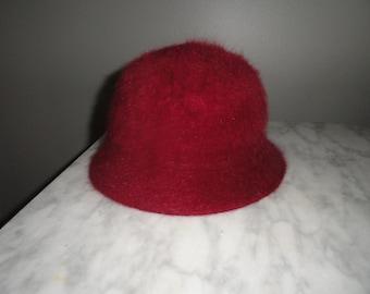 Red Burgundy or Raspberry Angora Bucket Cloche Hat
