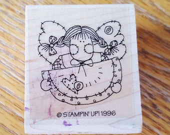Homespun Fairy Angel with Watermelon Rubber Stamp retired from Stampin Up