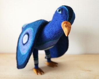 Blue bird soft sculpture/needle felted pigeon art doll