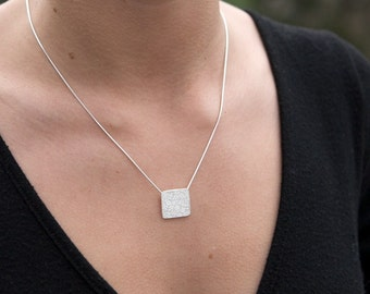 Silver Geometric Square Minimalist Necklace Snake Chain Simple Sophisticated Jewelry Gift for Her Personalize on Back or Not Zen Style