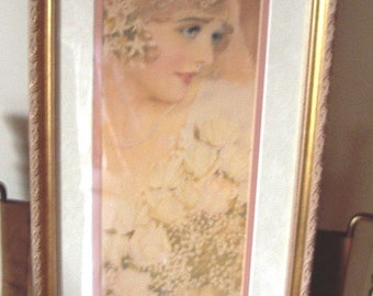 "1920's ""The Bride "" by Rolf Armstrong Framed & Double Matted  Item # 313 Wedding Apparel"