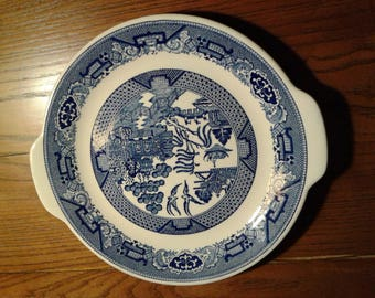 Vintage Blue Willow Ware cake plate/serving platter with handles