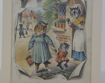 REDUCED! Antique 19th C Lithograph Victorian Cats Kittens Naughty Tommy Won't go to School