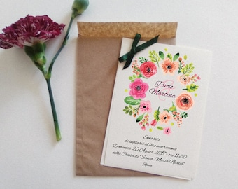 Wedding participations. Customizable investments with Kraft envelope. Floral style.