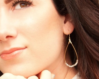 Anjou Silver & Gold Teardrop Earrings