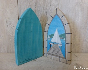 Door Portal to Dock & Sailboat Fairy Door Hand Painted on Rustic Reclaimed Wood Miniature Distressed Art Acrylic Signed Painting on Wood