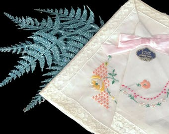 Vintage NOS Hankie Set Three Embroidered Floral Hankies New Old Stock Handkerchiefs Cottage Chic Flower Emboidery