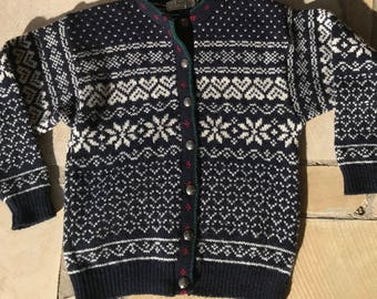 LL Bean Beautiful Nordic Printed Wool Cardigan Sweater- M