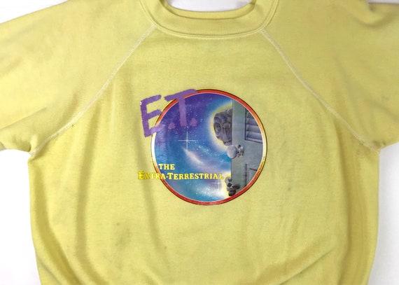 Vintage 1982 E.T. Extra-Terrestrial Universal Studios Iron On Graphic Royal Blue + Heather Grey Raglan Crewneck Sweatshirt XS XGwxc7