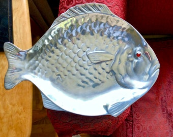 Arthur Court cast aluminum Flounder with bright red Carnelian eye.  hand cast Circa 1976